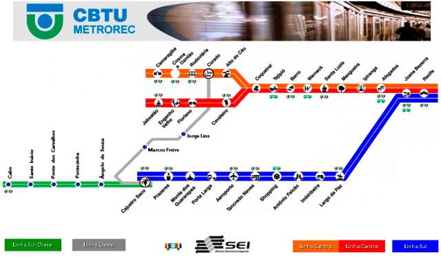 Mapa Metrô Recife