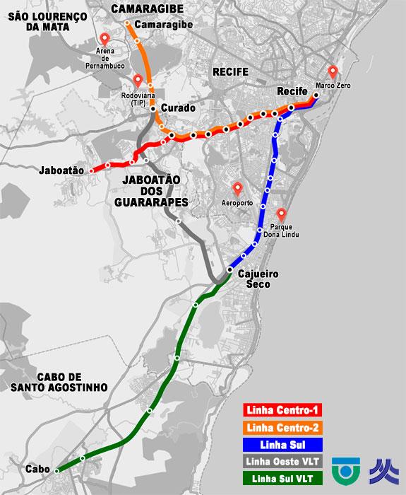 Mapa geográfico do Metrô do Recife